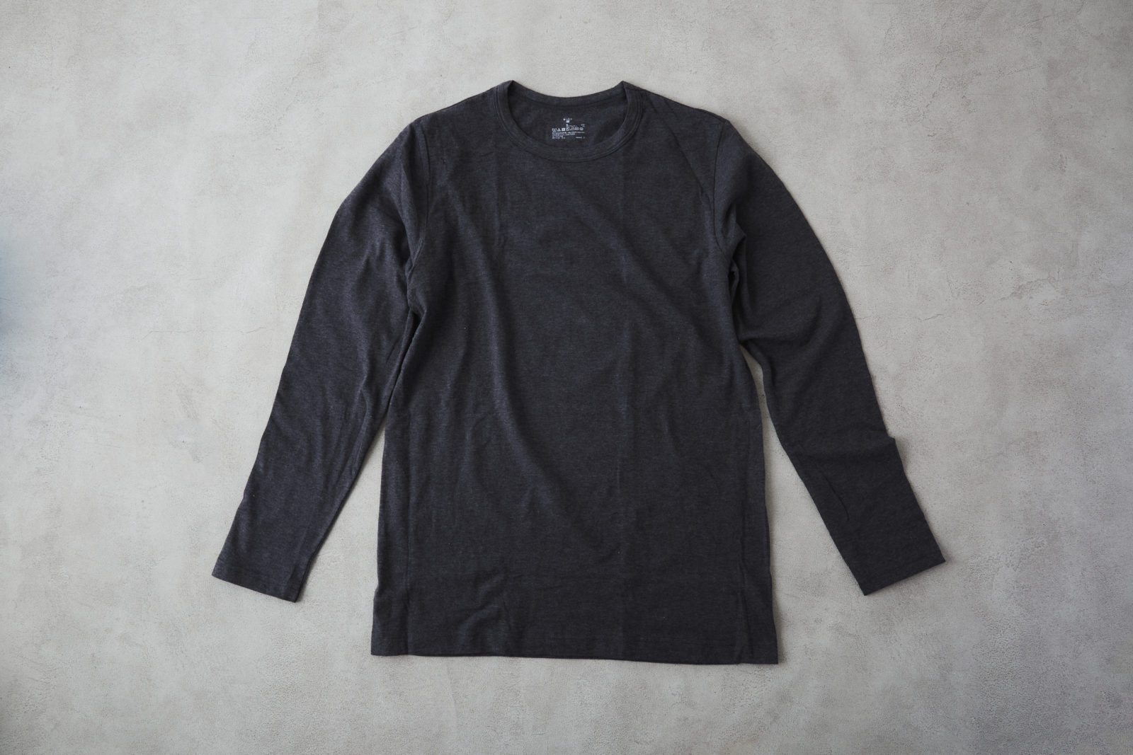綿であったかVネック長袖Tシャツ 紳士・チャコールグレー