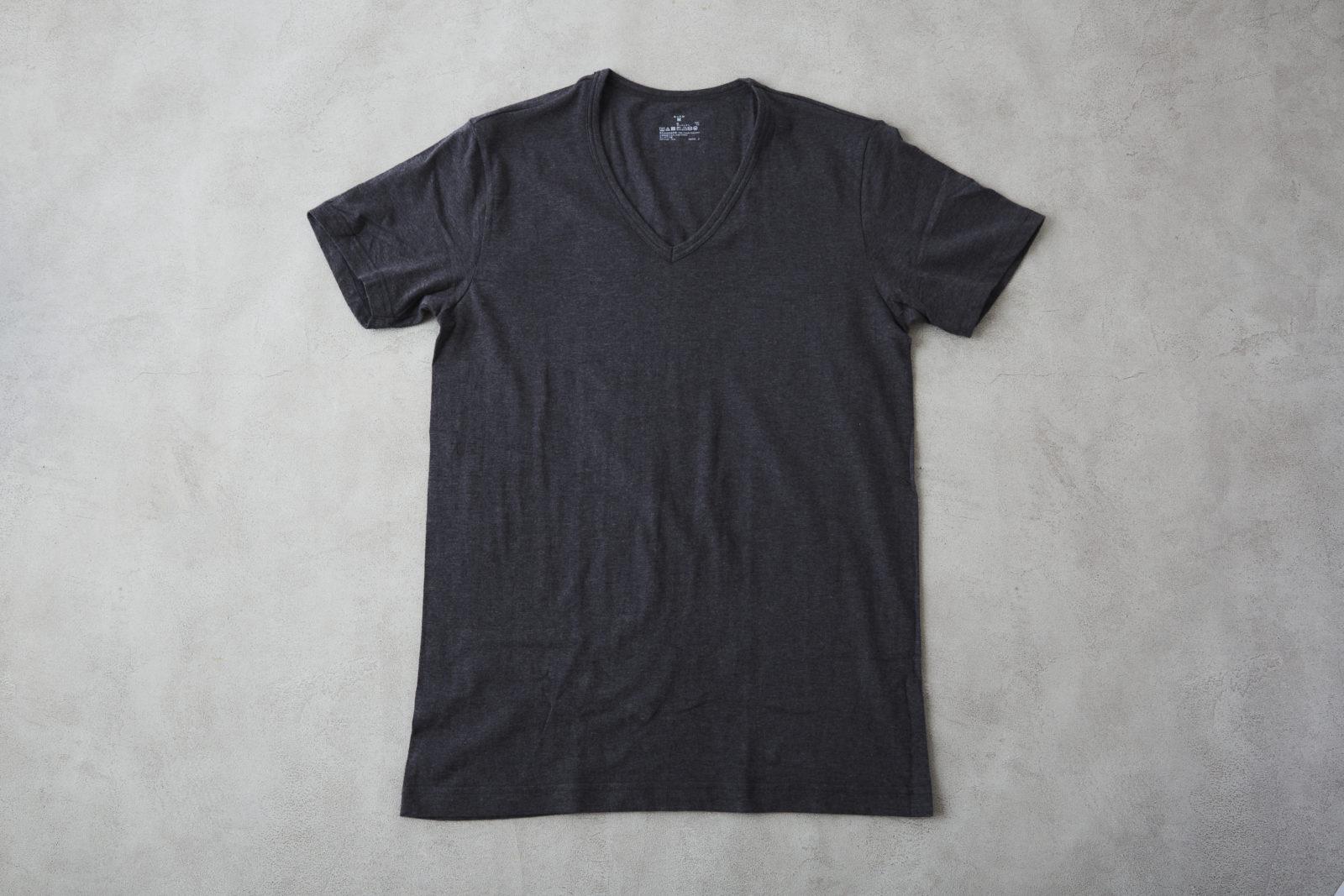 綿であったかVネック半袖Tシャツ 紳士S・チャコールグレー