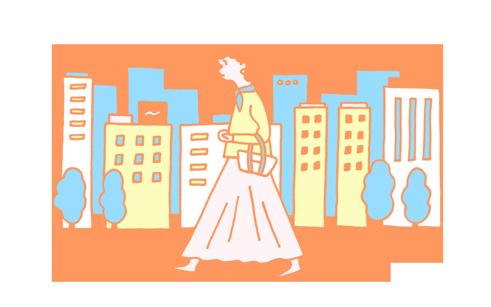 散歩をする女性のイラスト