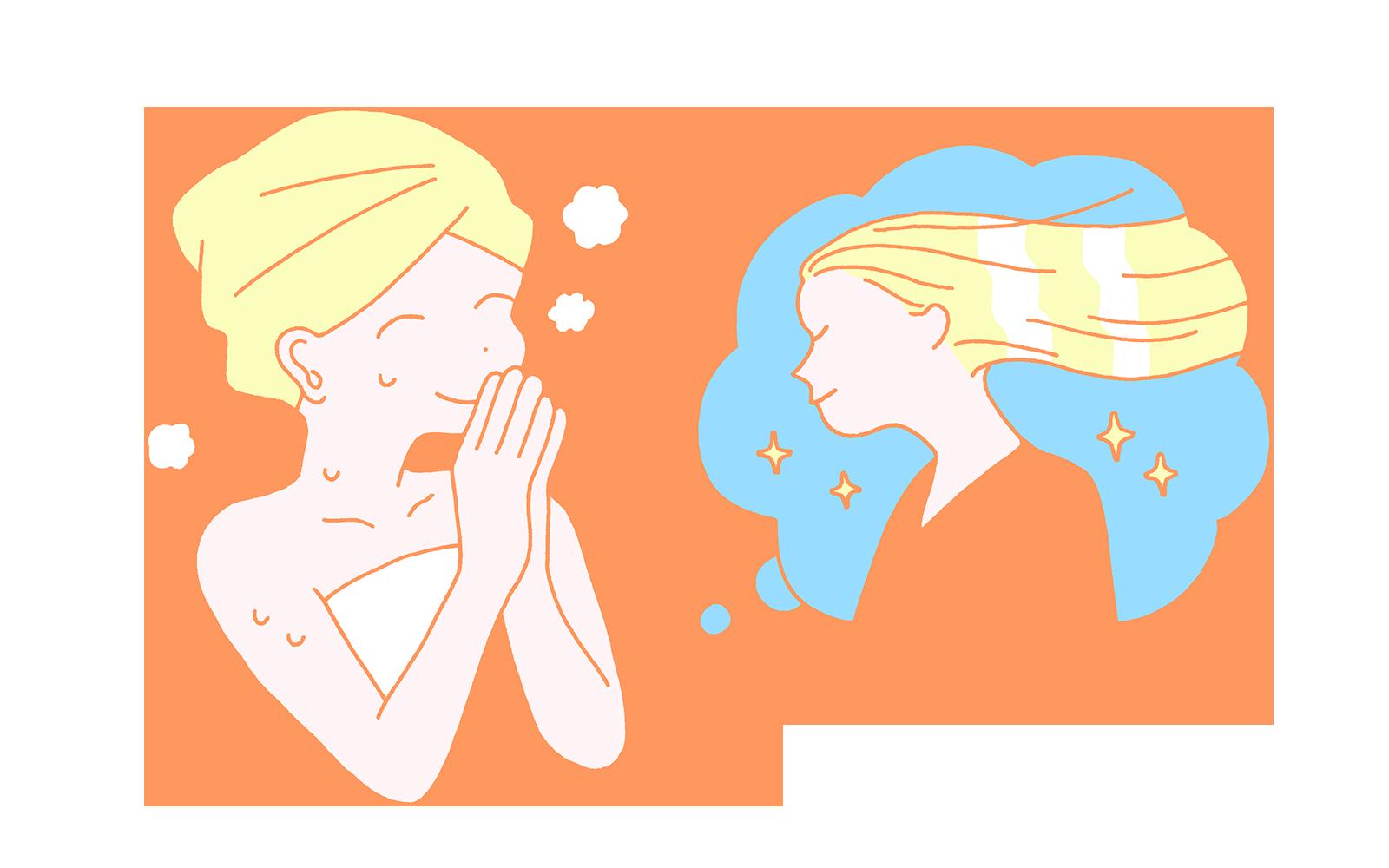濡れタオルに包まれた美しい髪の女性